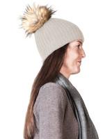 hellgraue kaschmir mütze mit pompon