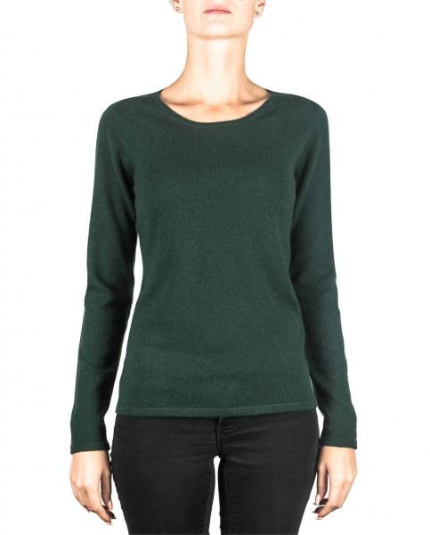 dunkelgrüner rundhals damen pullover frontfoto