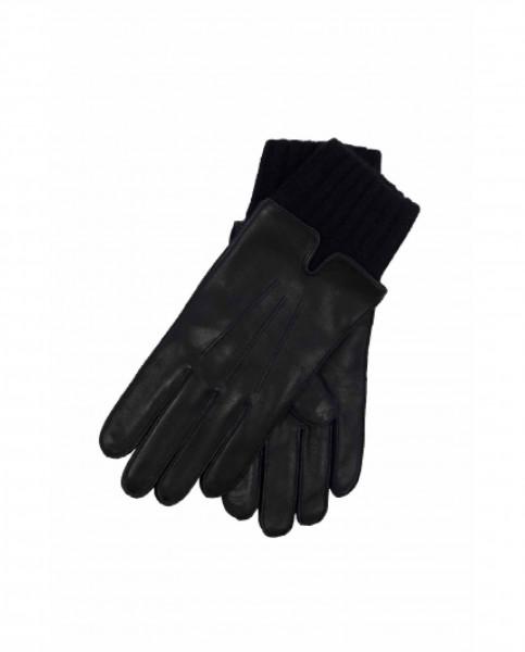 Lederhandschuhe mit Pulswärmer und Touchscreen tauglich schwarz