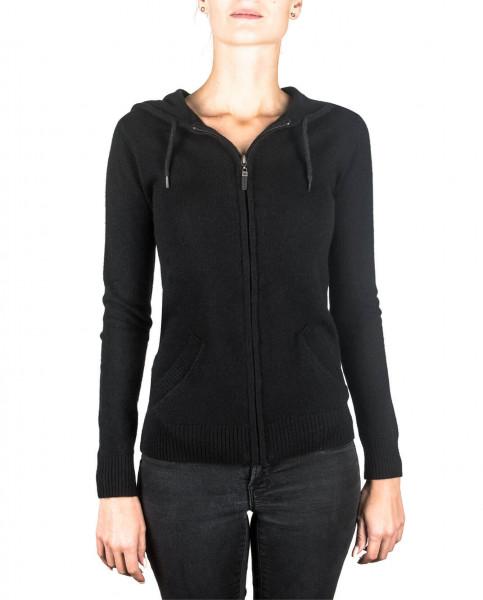 schwarzer kaschmir damen kapuzenpullover frontfoto
