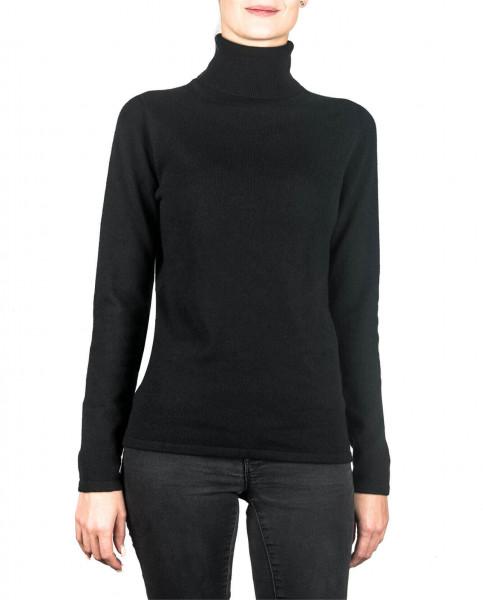 schwarzer kaschmir rollkragen damen pullover frontfoto