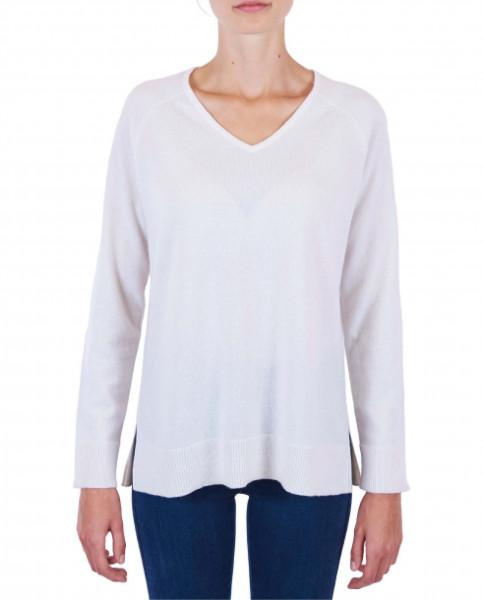 Damen Kaschmir V-Ausschnitt Pullover mit Seitenschlitzen weiss frontfoto