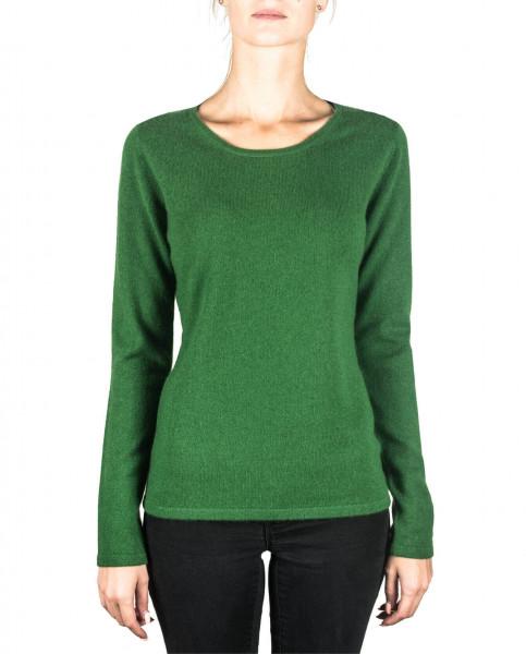 grüner kaschmir rundhals damen pullover frontfoto