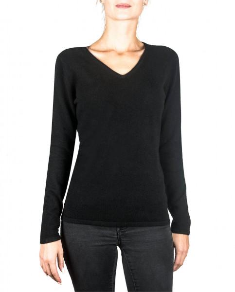 schwarzer kaschmir v ausschnitt damen pullover frontfoto