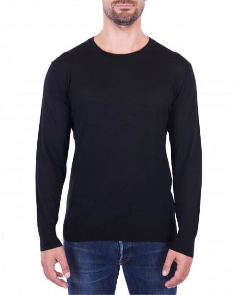 Herren Kaschmir Rundhals Pullover schwarz (Frühling) front