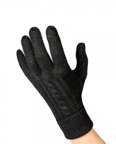 schwarze kaschmir handschuhe mit zopfmuster