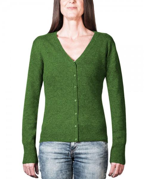 grüne kaschmir damen strickjacke v ausschnitt frontfoto