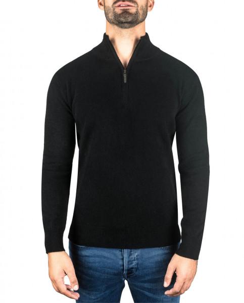 schwarzer kaschmir stehkragen herren pullover frontfoto