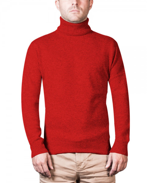 roter kaschmir rollkragen herren pullover frontfoto