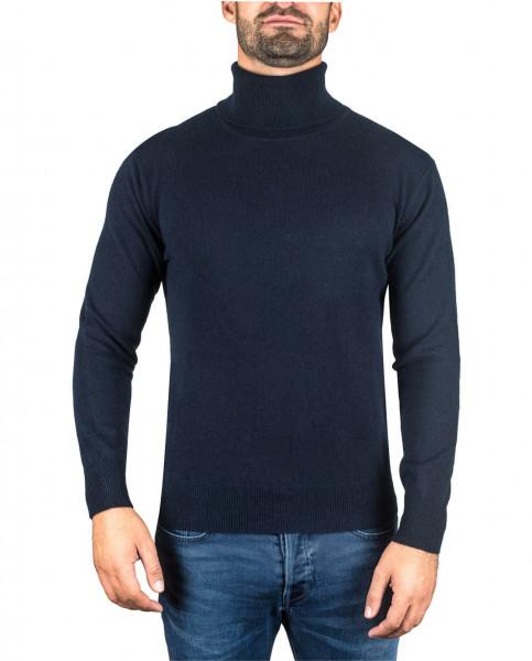 marine blauer kaschmir rollkragen herren pullover frontfoto