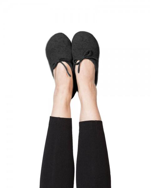 schwarze kaschmir hausschuhe mit ledersohle und schlaufen