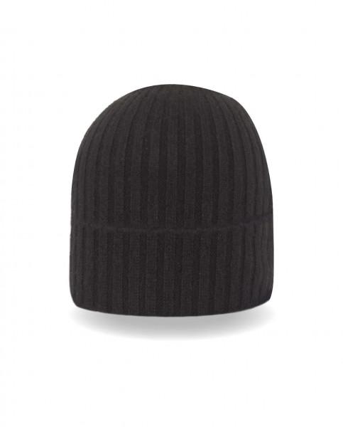 schwarze kaschmir rib mütze frontfoto