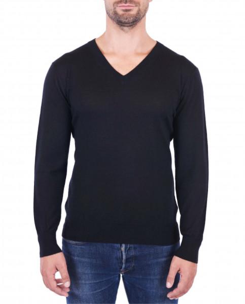 Herren Kaschmir V-Ausschnitt Pullover schwarz (Frühling) frontbild