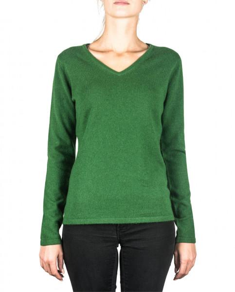grüner kaschmir v ausschnitt damen pullover frontfoto