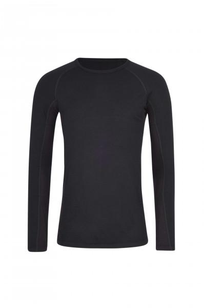 High Performance Kaschmir Sportwäsche Langarm-Shirt schwarz frontbild