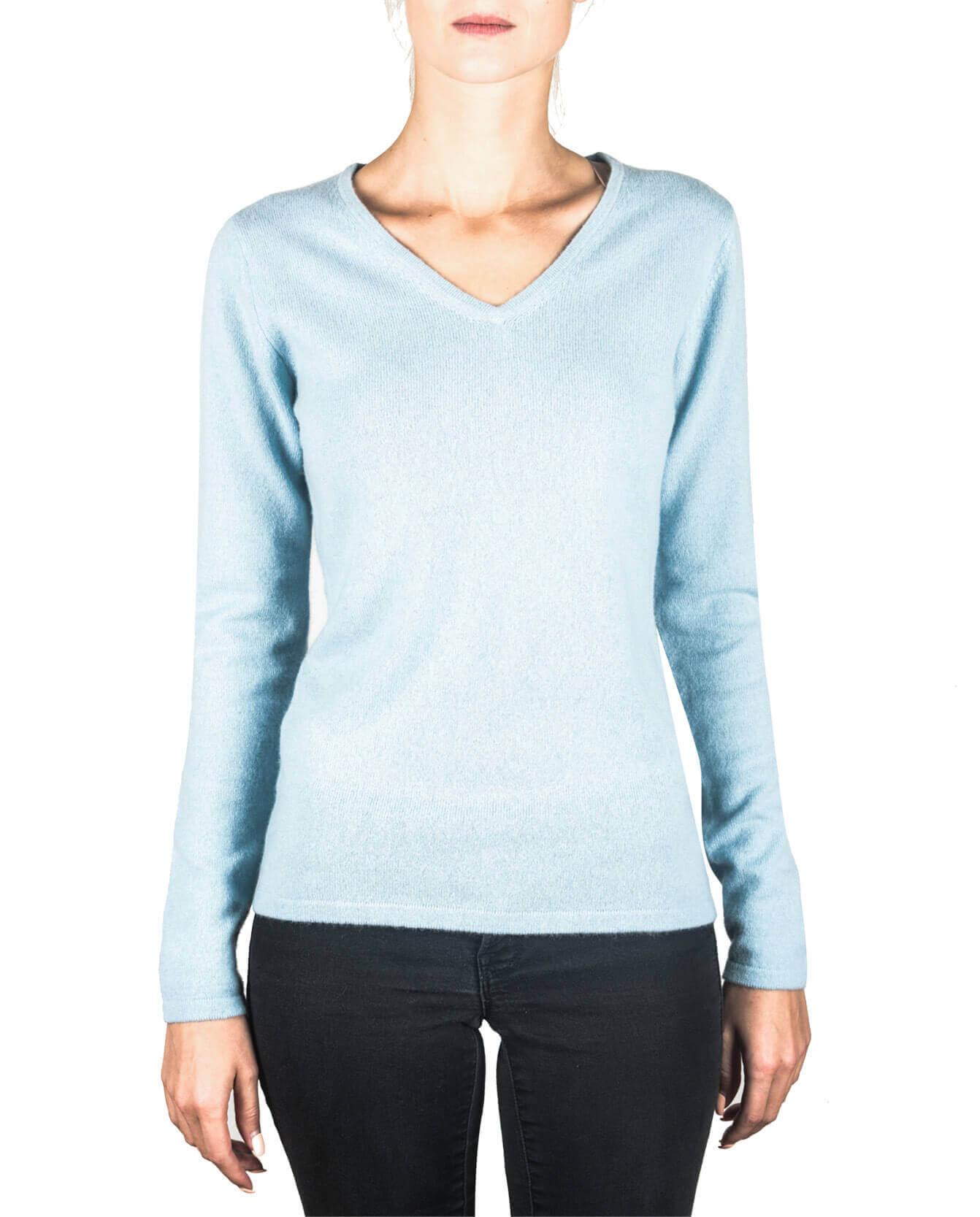Kaschmir V Ausschnitt Pullover hellblau