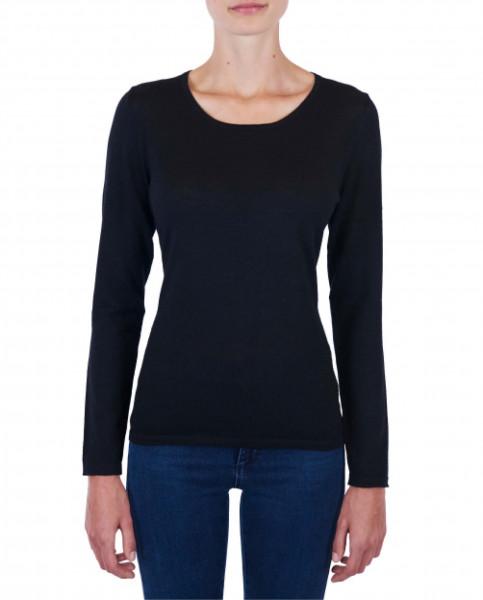 Damen Kaschmir Rundhals Pullover schwarz (Frühling) frontfoto