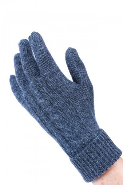 anthrazit kaschmir handschuhe mit zopfmuster