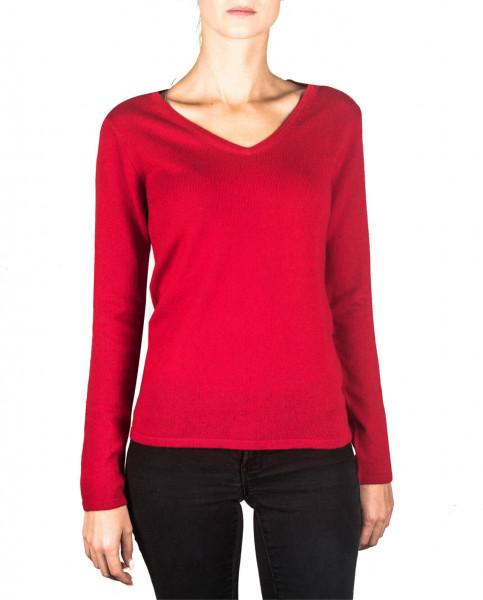 roter kaschmir v ausschnitt damen pullover frontfoto