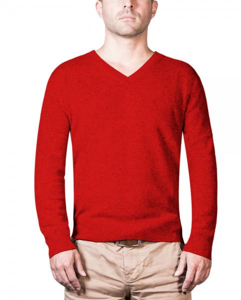 roter kaschmir v ausschnitt herren pullover frontfoto