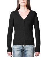 schwarze kaschmir damen strickjacke v ausschnitt frontfoto