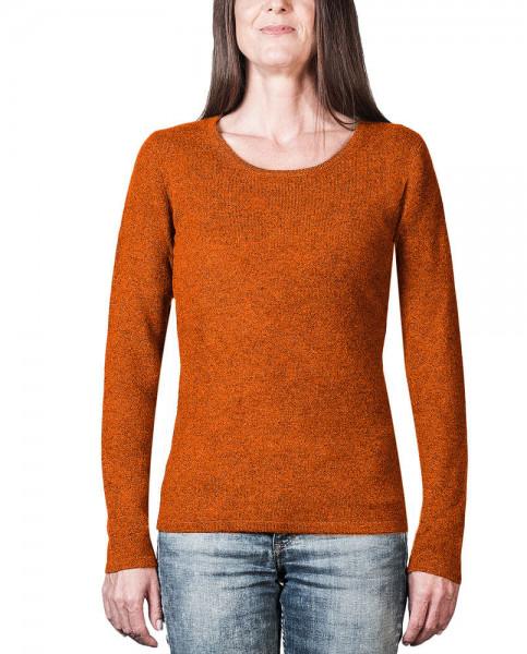 oranger kaschmir rundhals damen pullover frontfoto