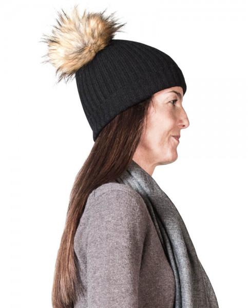 schwarze kaschmir mütze mit pompon