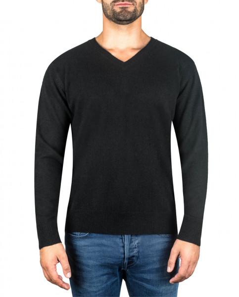 schwarzer kaschmir v ausschnitt herren pullover frontfoto