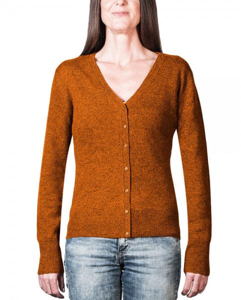 orange kaschmir damen strickjacke v ausschnitt frontfoto