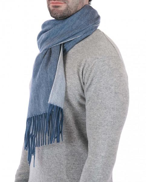 Kaschmir Schal double face blau und cream frontbild