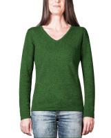 grüner kaschmir v ausschnitt damenpullover frontfoto