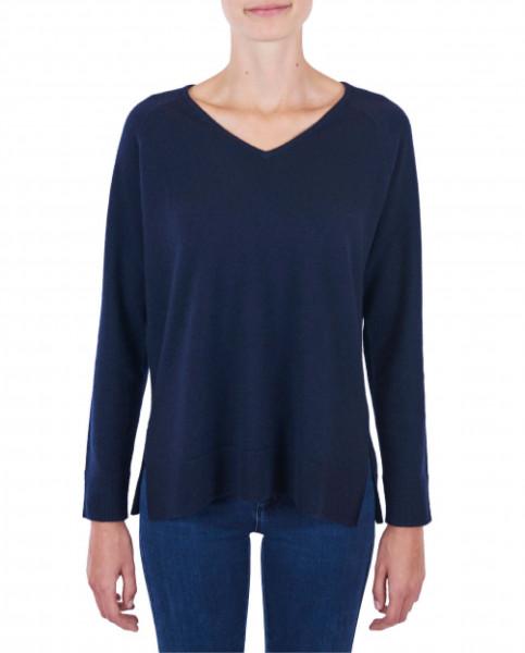 Damen Kaschmir V-Ausschnitt Pullover mit Seitenschlitzen marine blau frontfoto