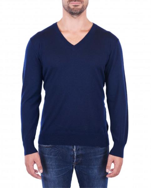 Herren Kaschmir V-Ausschnitt Pullover marine blau (Frühling) frontbild