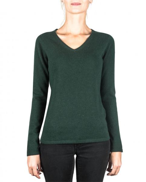 dunkelgrüner kaschmir v ausschnitt damen pullover frontfoto