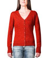 rote kaschmir damen strickjacke v ausschnitt frontfoto