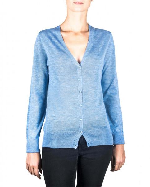 hellblaue kaschmir v ausschnitt damen strickjacke frontfoto