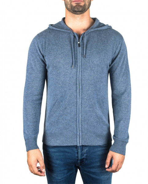 jeans blauer kaschmir herren kapuzenpullover frontfoto