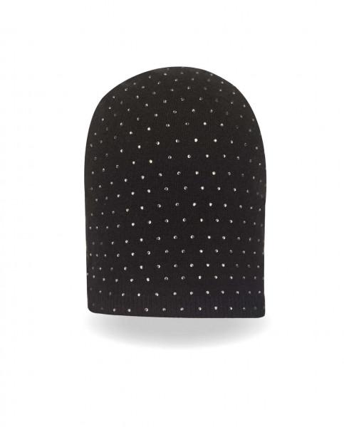 schwarze kaschmir mütze mit strass frontfoto