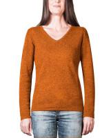 oranger kaschmir v ausschnitt damenpullover frontfoto