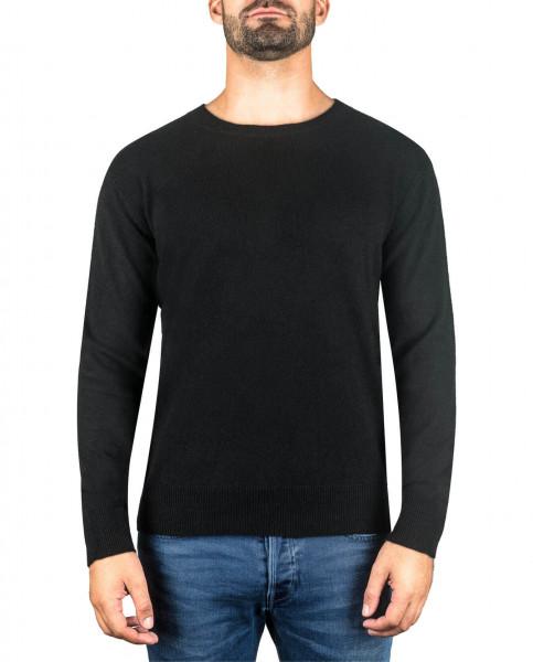 schwarzer kaschmir rundhals herren pullover frontfoto