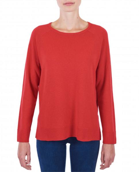 Damen Kaschmir Rundhals Pullover mit Seitenschlitzen rot frontfoto