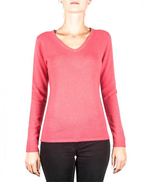 virtual pink kaschmir v ausschnitt damen pullover frontfoto