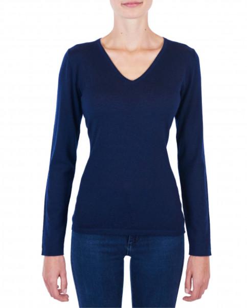 Damen Kaschmir V-Ausschnitt Pullover marine blau (Frühling) frontfoto