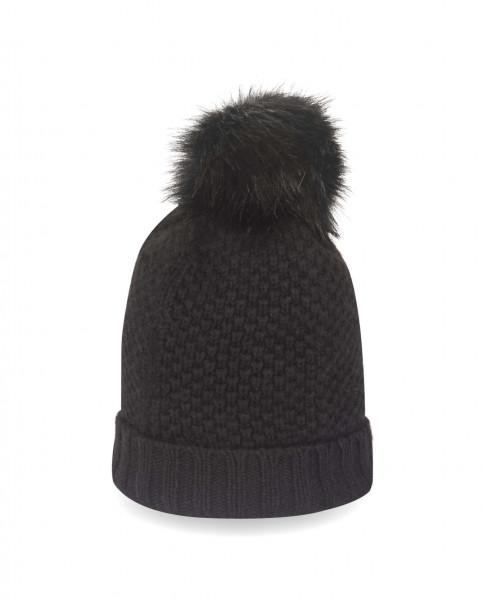 schwarze kaschmir mütze mit bommel