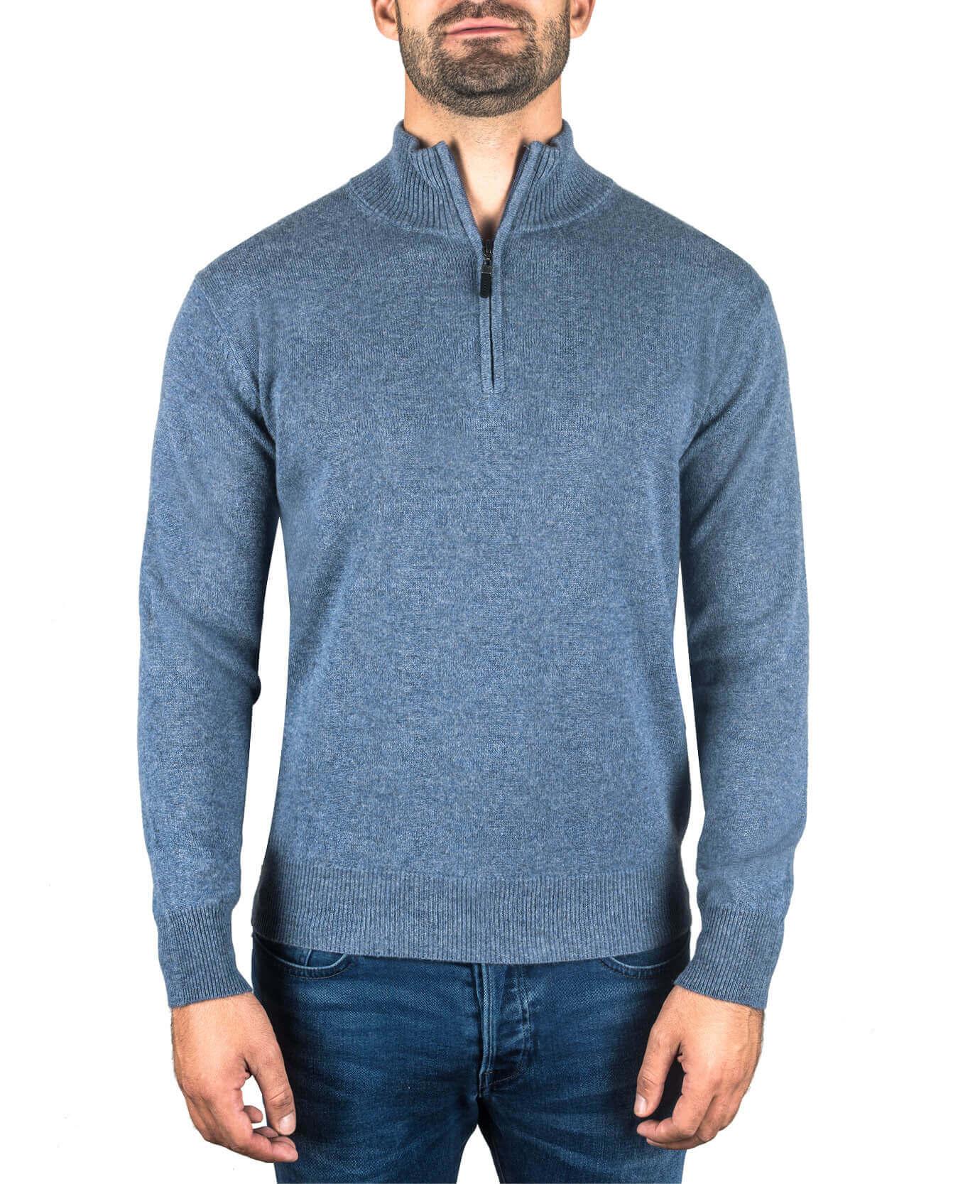 letzter Rabatt Luxus-Ästhetik meistverkauft Kaschmir Stehkragen Pullover jeans blau
